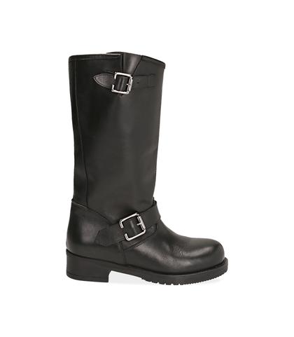 Biker boots neri in pelle di vitello , Valerio 1966, 14A2T0001VINERO035, 001