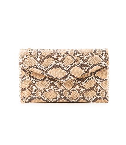 Pochette beige in eco-pelle, effetto snake skin, Borse, 1333T2206PTBEIGUNI, 001