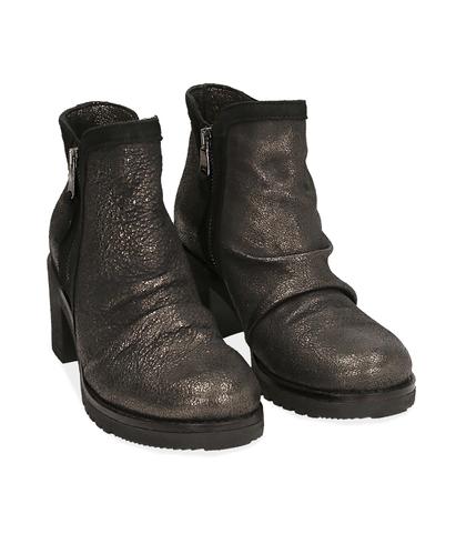 Biker boots oro in laminato , Scarpe, 1056T0039LMOROG035, 002