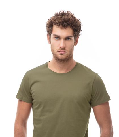 T-shirt girocollo verde in cotone, Abbigliamento, 13T6T3925TSVERDL, 002