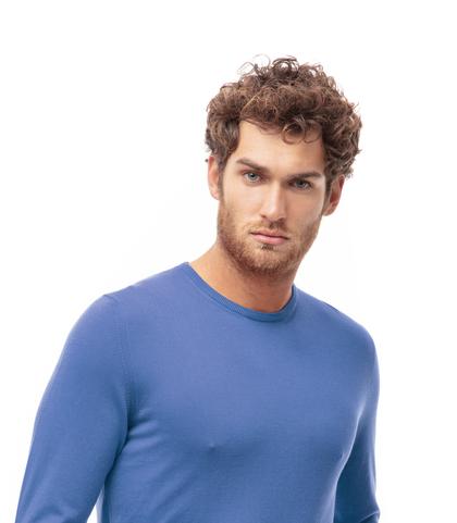 Maglioncino girocollo azzurro in cotone, Abbigliamento, 13T4T2350TSAZZU48, 002