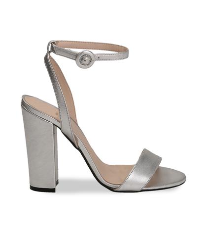Sandali argento con cinturino alla caviglia, Scarpe, 13D6T0703LMARGE035, 001