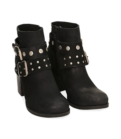 Ankle boots con fibbie neri in nabuk , Scarpe, 1056T0044NBNERO035, 002