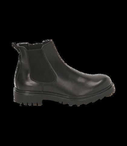 Chelsea boots neri in pelle, UOMO, 1698T7409PENERO039, 001