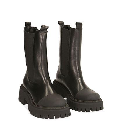 Chelsea boots neri in pelle, tacco 5,5 cm , Valerio 1966, 1872T4477PENERO035, 002