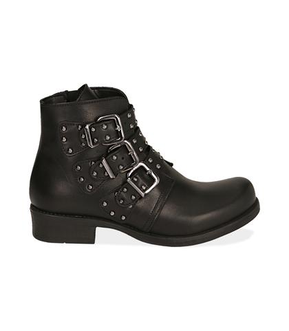 Biker boots neri in pelle di vitello, Scarpe, 1007S0101VINERO035, 001