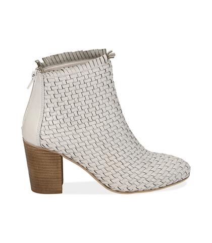 Ankle boots bianchi in pelle intrecciata, tacco 7,50 cm , Valerio 1966, 15C5T5018PIBIAN035, 001