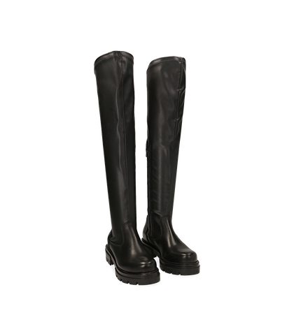 Stivali overknee neri, tacco 4,50 cm , 1656T0097EPNERO035, 002
