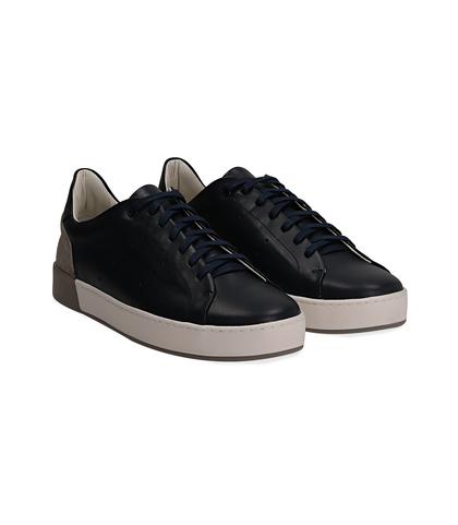 Sneakers blu in pelle con tallone grigio in camoscio, Scarpe, 1198T5841PEBLUE040, 002