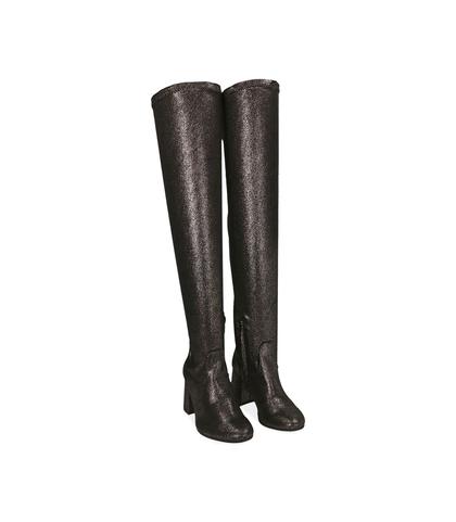 Stivali overknee bronzo in laminato , Scarpe, 1004T0149LMBRON035, 002