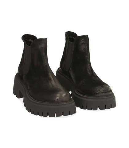 Chelsea boots neri in camoscio, tacco 5,5 cm, Valerio 1966, 1872T4438CMNERO035, 002