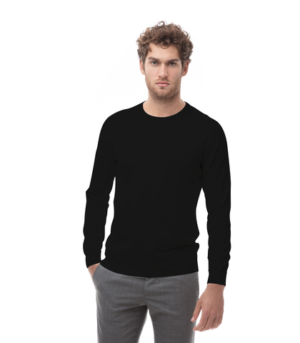 Maglia girocollo nera in cotone, Abbigliamento, 13T4T2000TSNERO48, 001