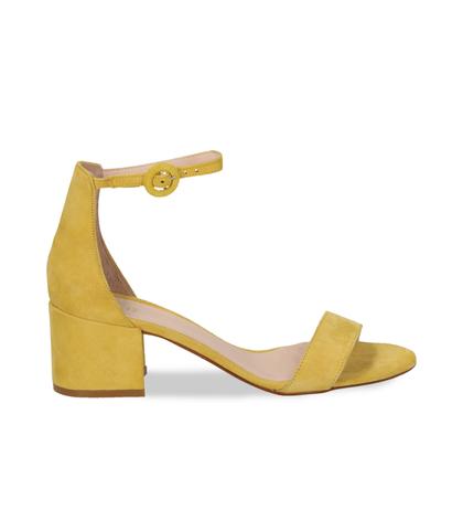 Sandali gialli in camoscio, tacco chunky 5,50 cm, DONNA, 13D6T0807CMGIAL036, 001