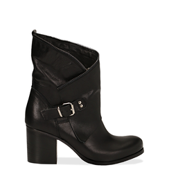 Ankle boots neri in pelle di vitello con gambale traforato, tacco 7 cm, Valerio 1966, 1156T0308VINERO036, 001 preview