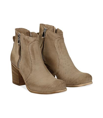 Ankle boots beige in nabuk con punta arrotondata, tacco 7 cm, Valerio 1966, 1156T0289NBBEIG036, 002