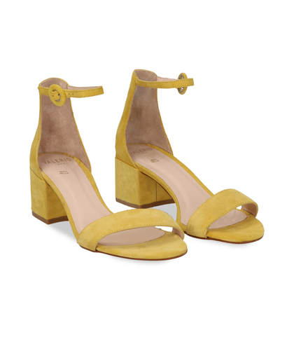 Sandali gialli in camoscio, tacco chunky 5,50 cm, DONNA, 13D6T0807CMGIAL036, 002