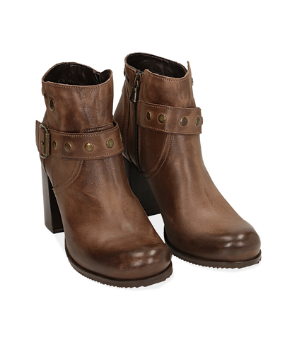 Ankle boots testa di moro in pelle con cinturino , Scarpe, 1007T0017PEMORO035, 002