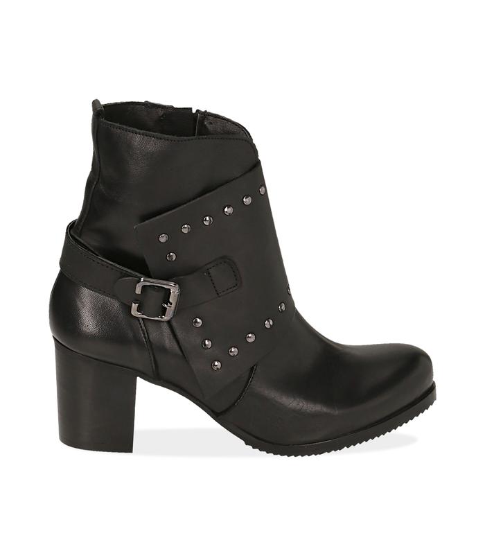 Ankle boots con borchie neri in pelleValerio 1966, 1007T5025PENERO036