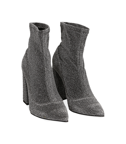 Ankle boots argento in lamè, Scarpe, 1002T7988LMARGE035, 002