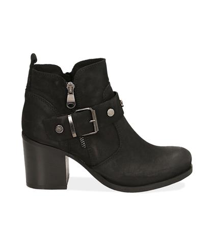 Ankle boots con fibbia neri in nabuk , Scarpe, 1256T0066NBNERO035, 001