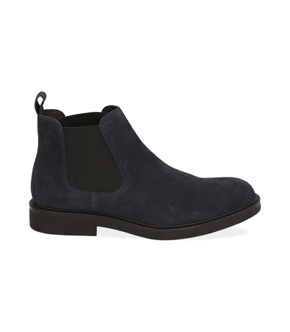 Chelsea boots blu in camoscio , UOMO, 16D4T1123CMBLUE039, 001