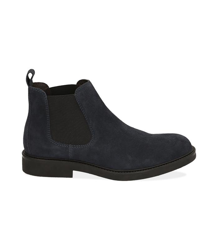Chelsea boots blu in camoscio SALDI UOMO, 16D4T1123CMBLUE040
