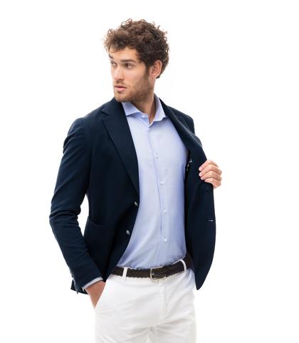 Giacca blu in cotone, Made in Italy, Abbigliamento, 13T1T3015TSBLUE46, 002