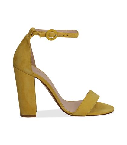 Sandali gialli in camoscio, tacco a colonna 10,50 cm, Scarpe, 13D6T0707CMGIAL036, 001