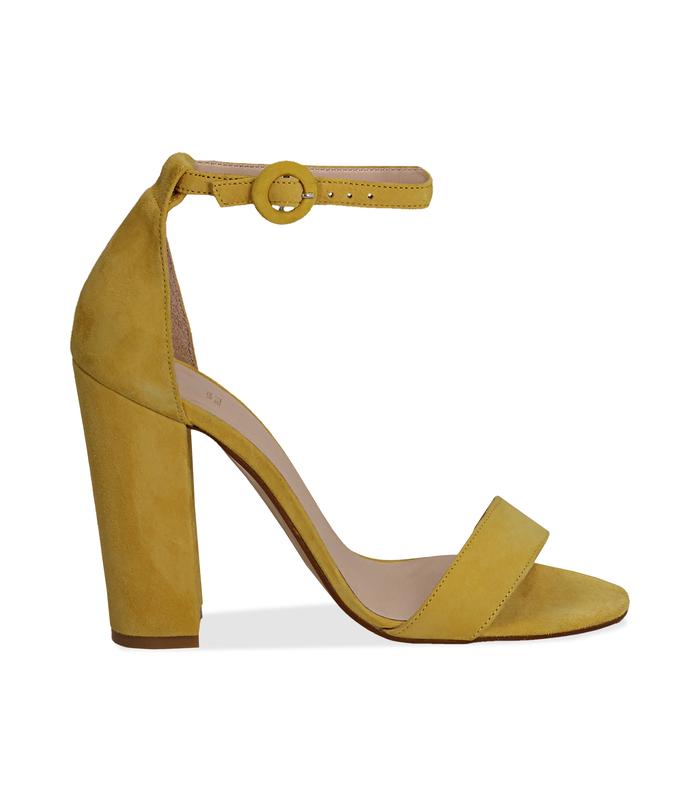 Sandali gialli in camoscio, tacco a colonna 10,50 cmScarpe, 13D6T0707CMGIAL036