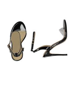 Sandali neri in eco-pelle con fascia in pvc, Scarpe, 1321T1042VENERO036, 003 preview