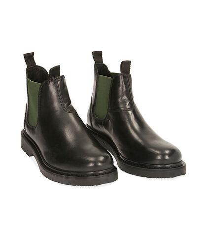 Chelsea boots nero/verde in pelle, Valerio 1966, 1877T6122PENEVE039, 002