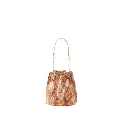 Secchiello cuoio in eco-pelle, effetto snake skin, DONNA, 1366T6746PTCUOIUNI, 001