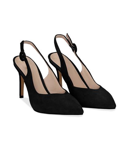 Slingback nere in camoscio, tacco 9 cm, Scarpe, 13D6T1002CMNERO036, 002