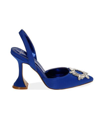 Slingback blu in raso, tacco 10 cm , Valerio 1966, 1721T5712RSBLUE035, 001