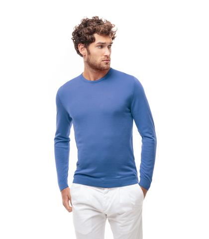 Maglioncino girocollo azzurro in cotone, Abbigliamento, 13T4T2350TSAZZU48, 001