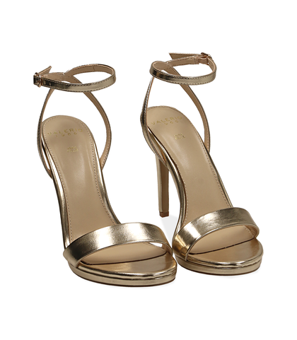 Sandali oro in eco-pelle laminata, 10,50 cm , Valerio 1966, 1521T7401LMOROG035, 002
