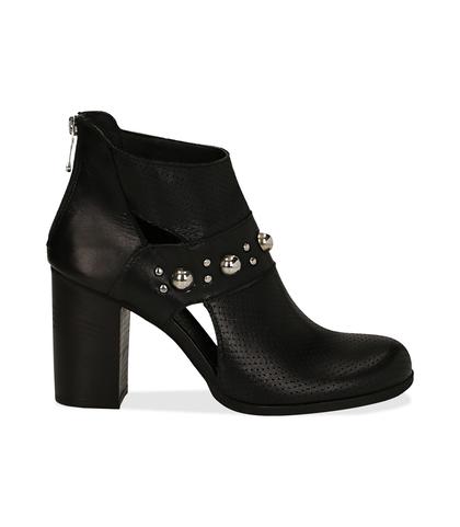 Ankle boots neri in pelle di vitello con boules sul cinturino, tacco 8 cm , Valerio 1966, 1189T0280VINERO036, 001