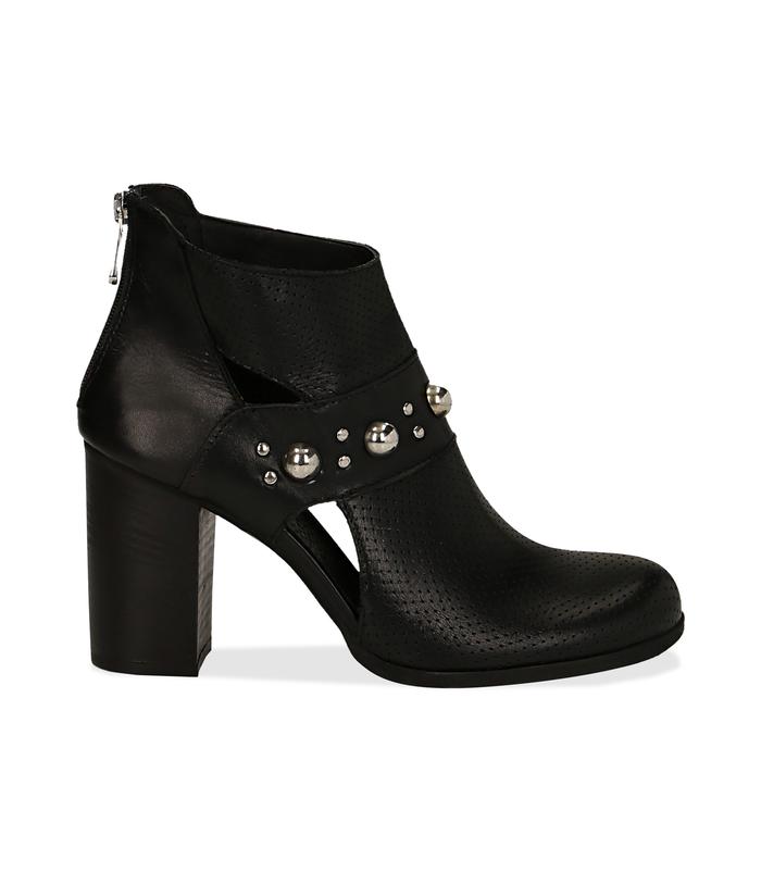 Ankle boots neri in pelle di vitello con boules sul cinturino, tacco 8 cm Valerio 1966, 1189T0280VINERO036