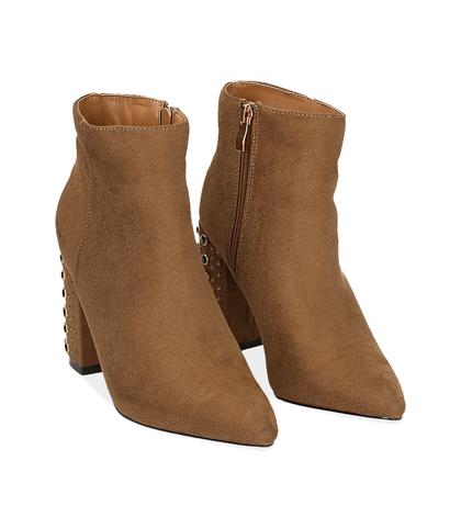 Ankle boots cuoio in microfibra con tacco gioiello , Valerio 1966, 1024T0691MFCUOI035, 002