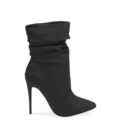 Ankle boots neri in raso , Valerio 1966, 1221T0052RSNERO035, 001
