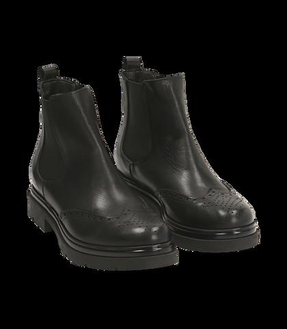 Chelsea boots neri in pelle di vitello con lavorazione Duilio, SALDI DONNA, 16A5T0038VINERO035, 002