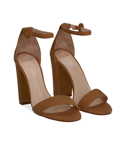 Sandali cuoio in camoscio, tacco a colonna 10,50 cm, Scarpe, 13D6T0707CMCUOI036, 002