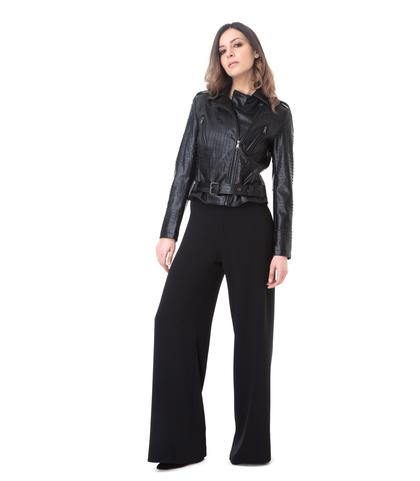 Chiodo nero in eco-pelle con mini-borchie, Abbigliamento, 1365T0021EPNEROL, 001