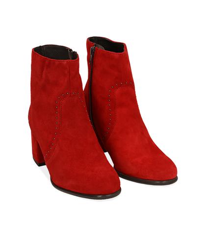 Ankle boots rossi in camoscio , Scarpe, 1277T2103CMROSS035, 002