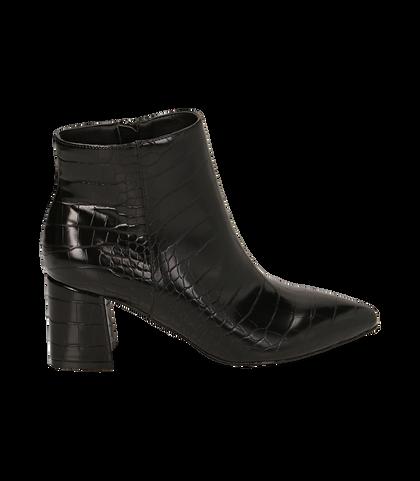 Ankle boots neri stampa cocco, tacco 6,50 cm , Valerio 1966, 1621T3911CCNERO035, 001