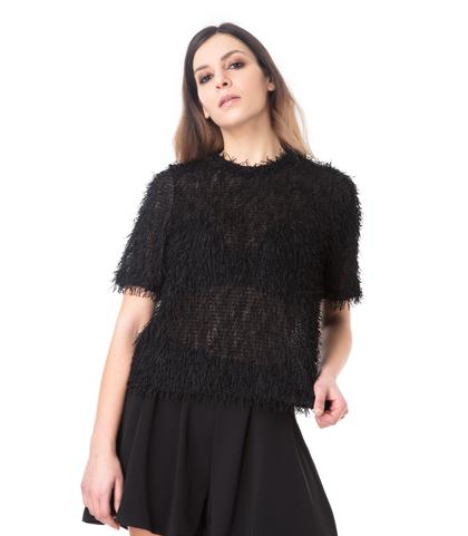 T-shirt nera con tessuto a frange, Valerio 1966, 11F8T1780TSNERO40, 002