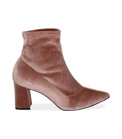 Ankle boots nude in velluto , Scarpe, 1002T4158VLNUDE035, 001