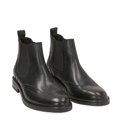 Chelsea boots neri in vitello con lavorazione Duilio, Scarpe, 1477T0609VINERO039, 002