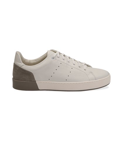 Sneakers bianche in pelle con tallone grigio in camoscio, Scarpe, 1198T5841PEBIGR040, 001