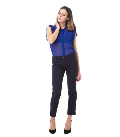 Pantaloni blu slim, con taglio laterale sul fondo, 11F8T0203TSBLUE40, 001